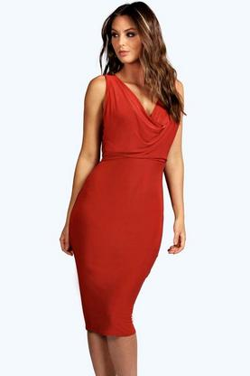 Emi Slinky Cowl Front & Back Bodycon Dress