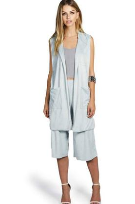 Eliza Sleeveless Suedette Side Split Duster