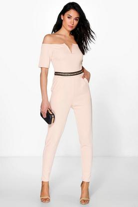 Lois Gold Trim Bardot Jumpsuit