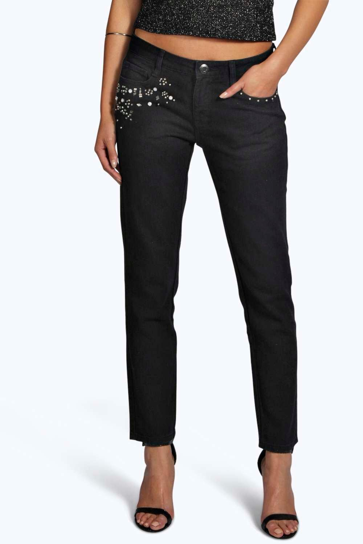 Embellished Pocket Mid Rise Skinny Jeans - black