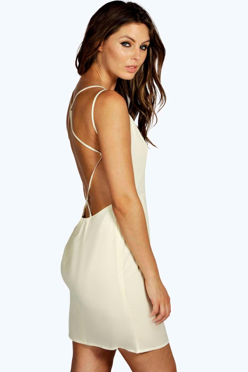 Product photo of Strappy back dress cream