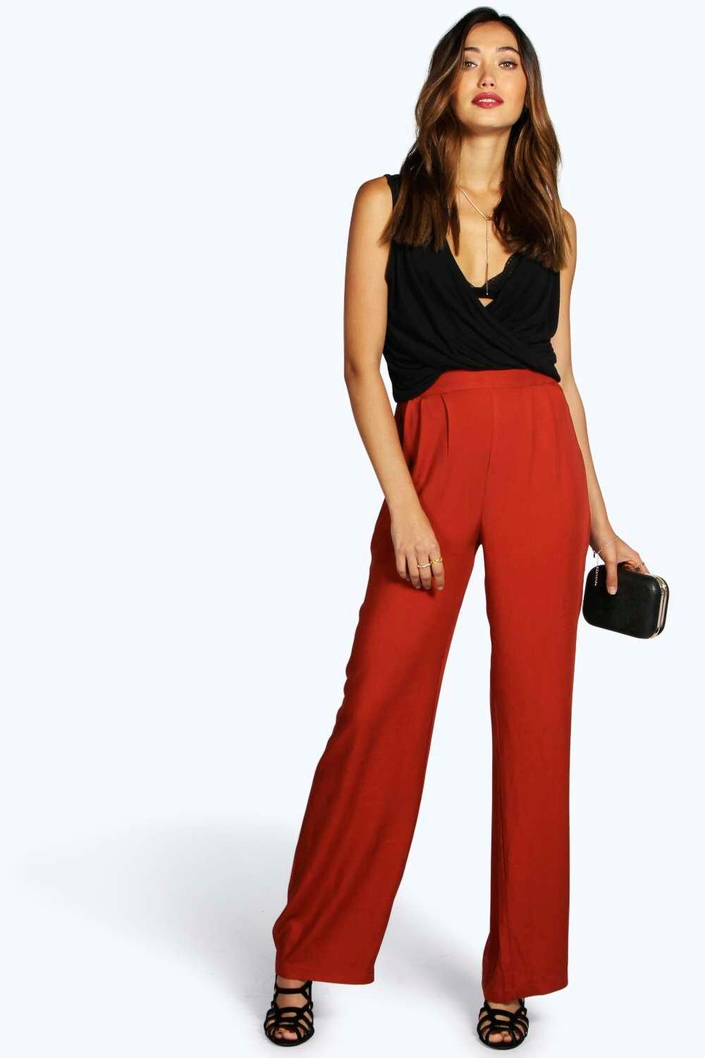 Pin Tuck Tailored Woven Wide Leg Trousers brick red