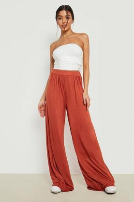 Iman Pin Tuck Soft Tailored Jersey Wide Leg Trousers