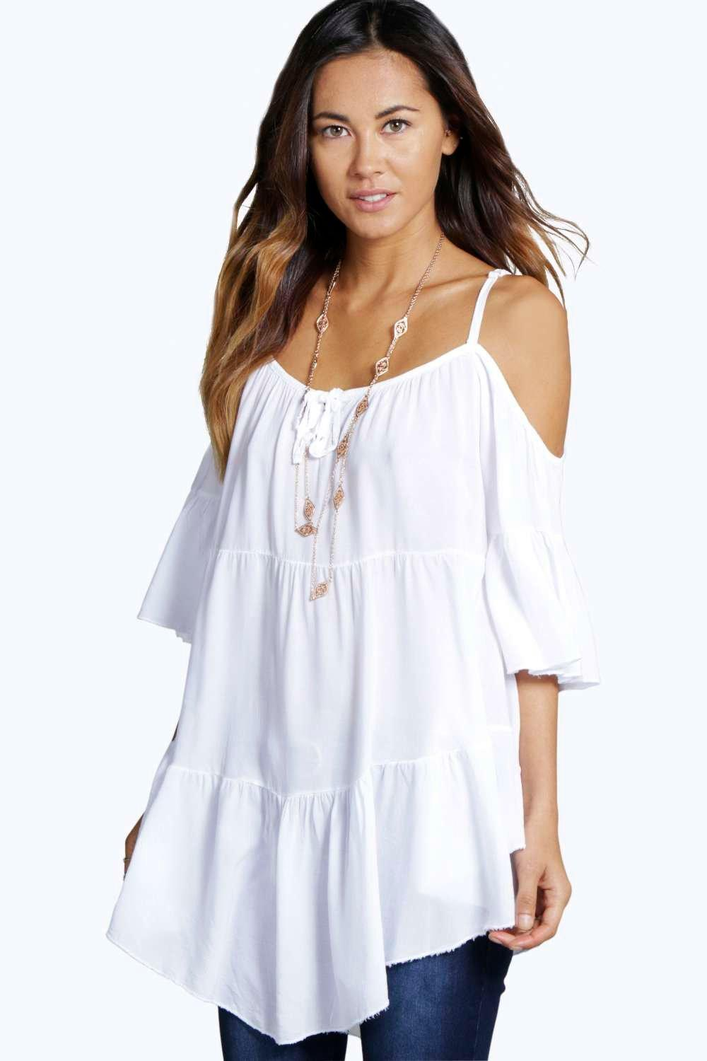 Cameron Tiered Cold Shoulder Woven Top