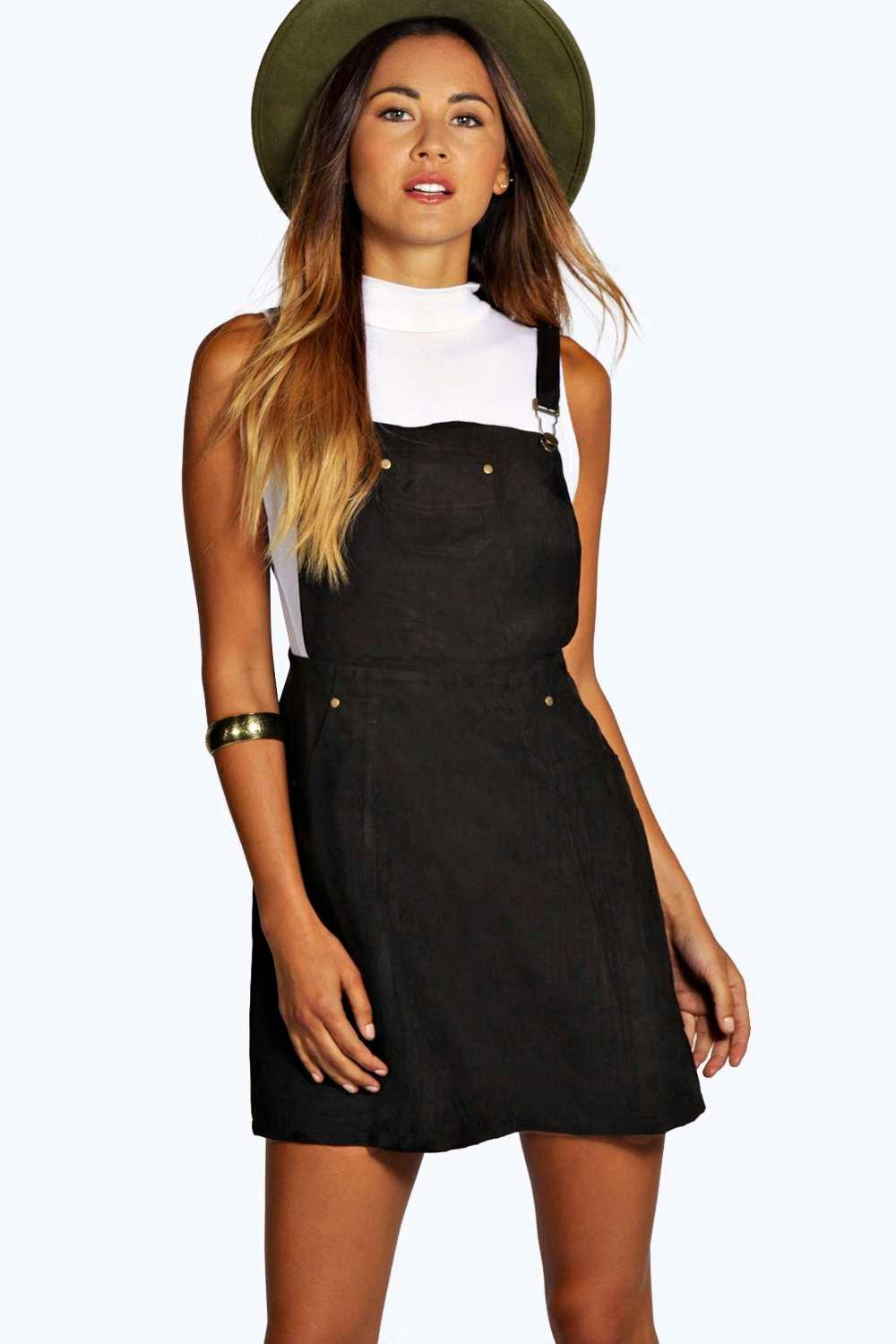 Suedette Dungaree Dress  black