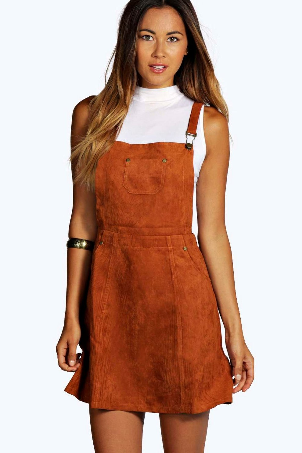 Boohoo Suedette Pinafore Dress Wiki For Sale Top Quality Cheap Price Many Kinds Of Cheap Online IBJ09Nf5N