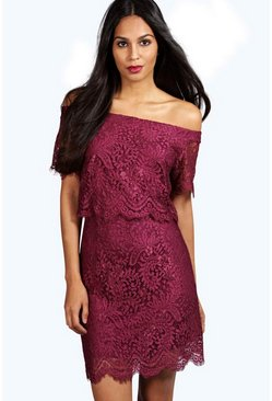 Effy Eyelash Lace Layered Mini Dress
