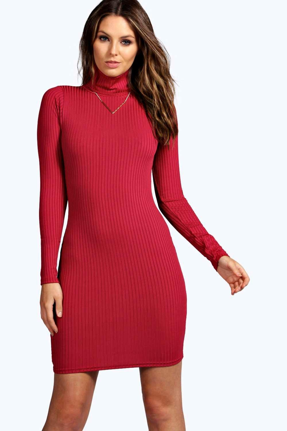 Hannah Ribbed High Neck Bodycon Dress