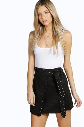 Boutique Sophia Studded Suede Look Wrap Skirt