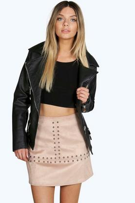 Boutique Sarah Studded Faux Suede Skirt