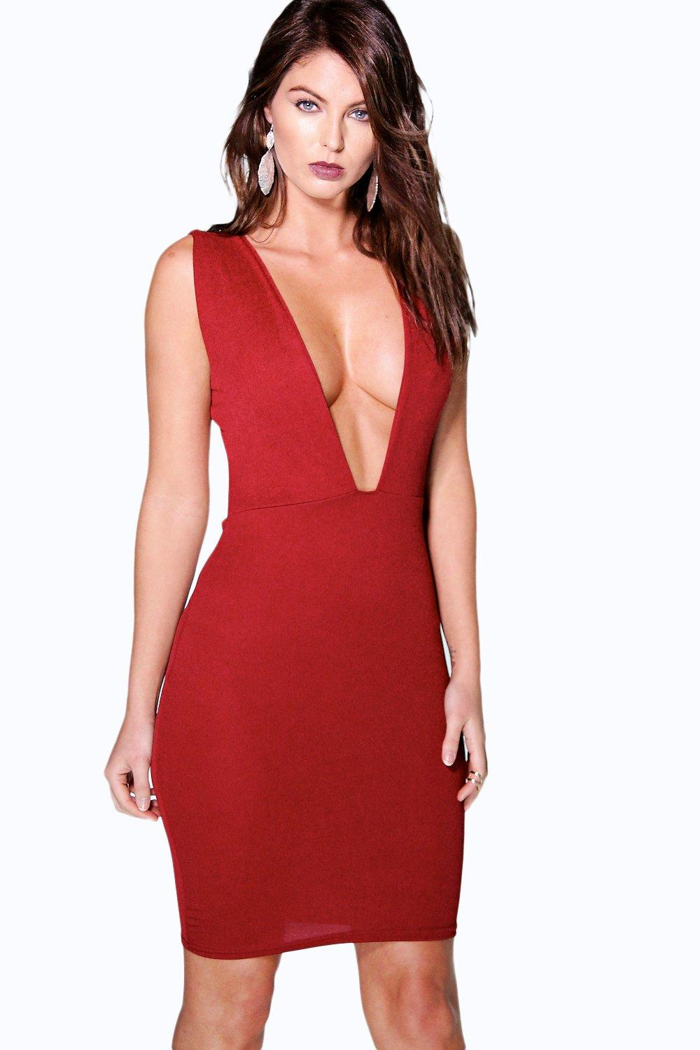 Leona Plunge Neck Cut Out Bodycon Dress
