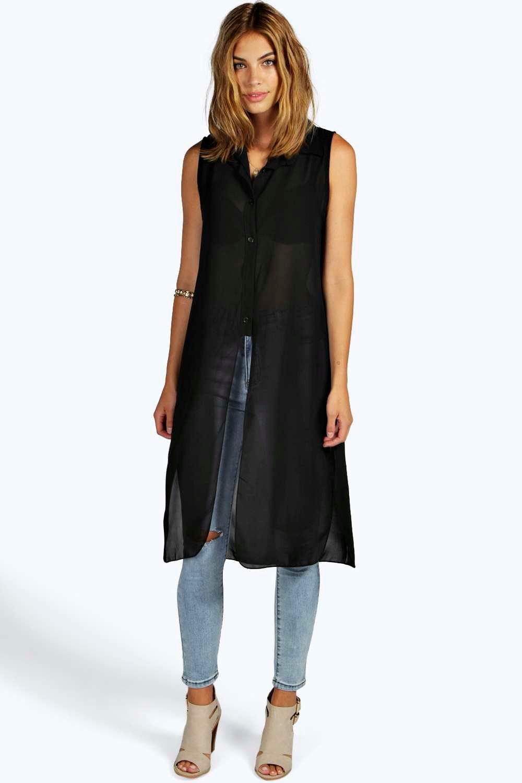 Button Maxi Shirt black
