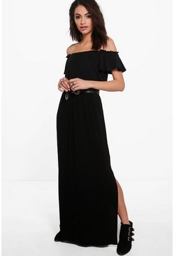 Lanie Side Split Floor Sweeping Maxi Skirt