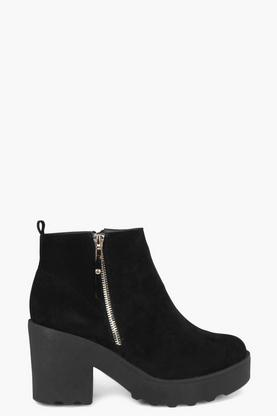 Maisie Zip Trim Heavy Cleated Ankle Boot