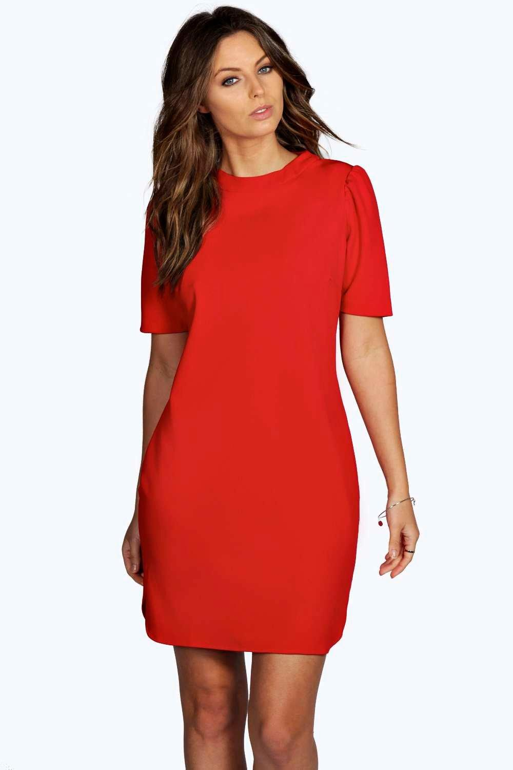 Oana Puff Shoulder Crew Neck Shift Dress