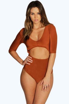 Phoebe Cut Out Waist Plunge Slinky Body