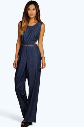 Casie Cut Out Chambray Denim Jumpsuit