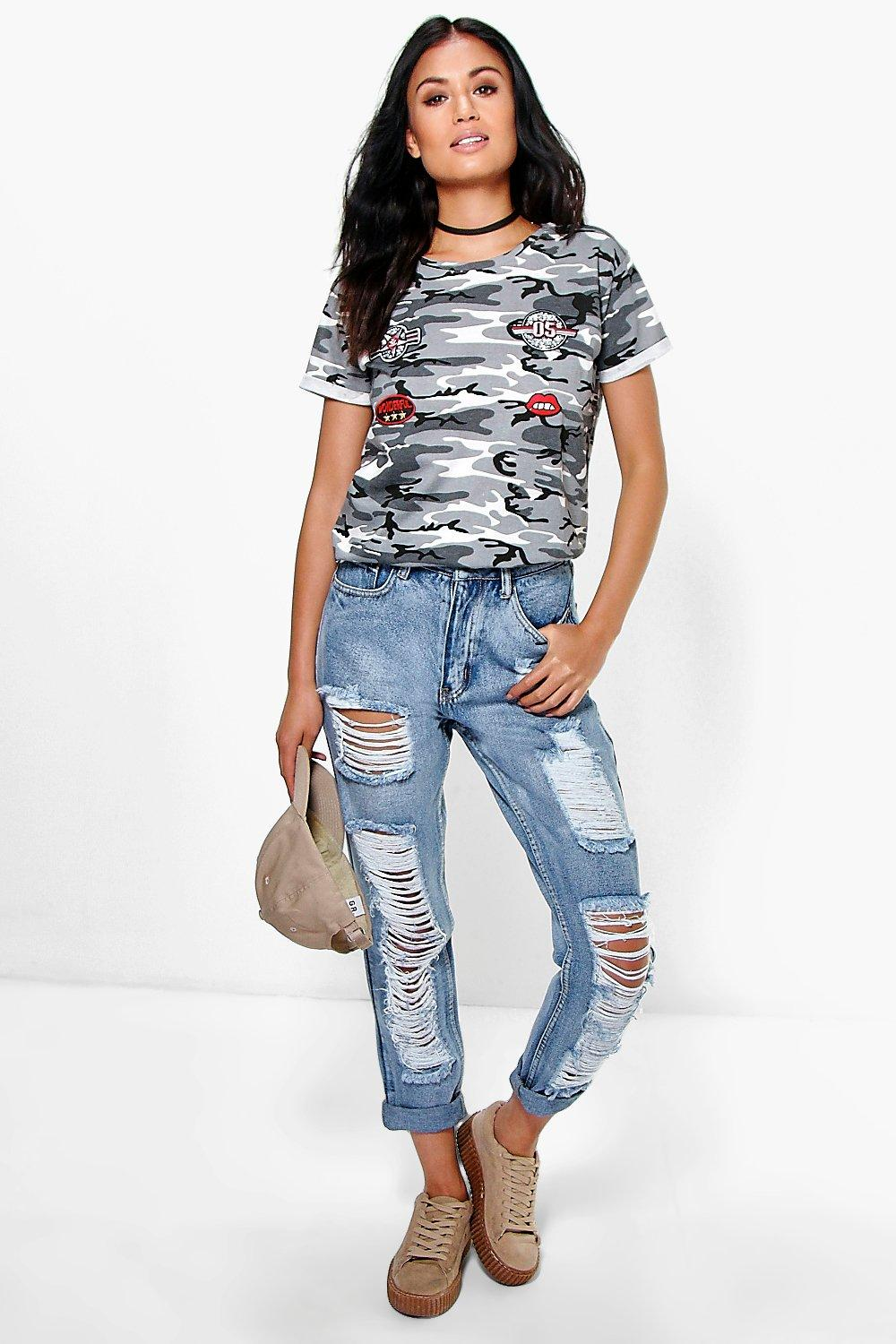 Briana Low Rise Heavy Distress Boyfriend Jeans