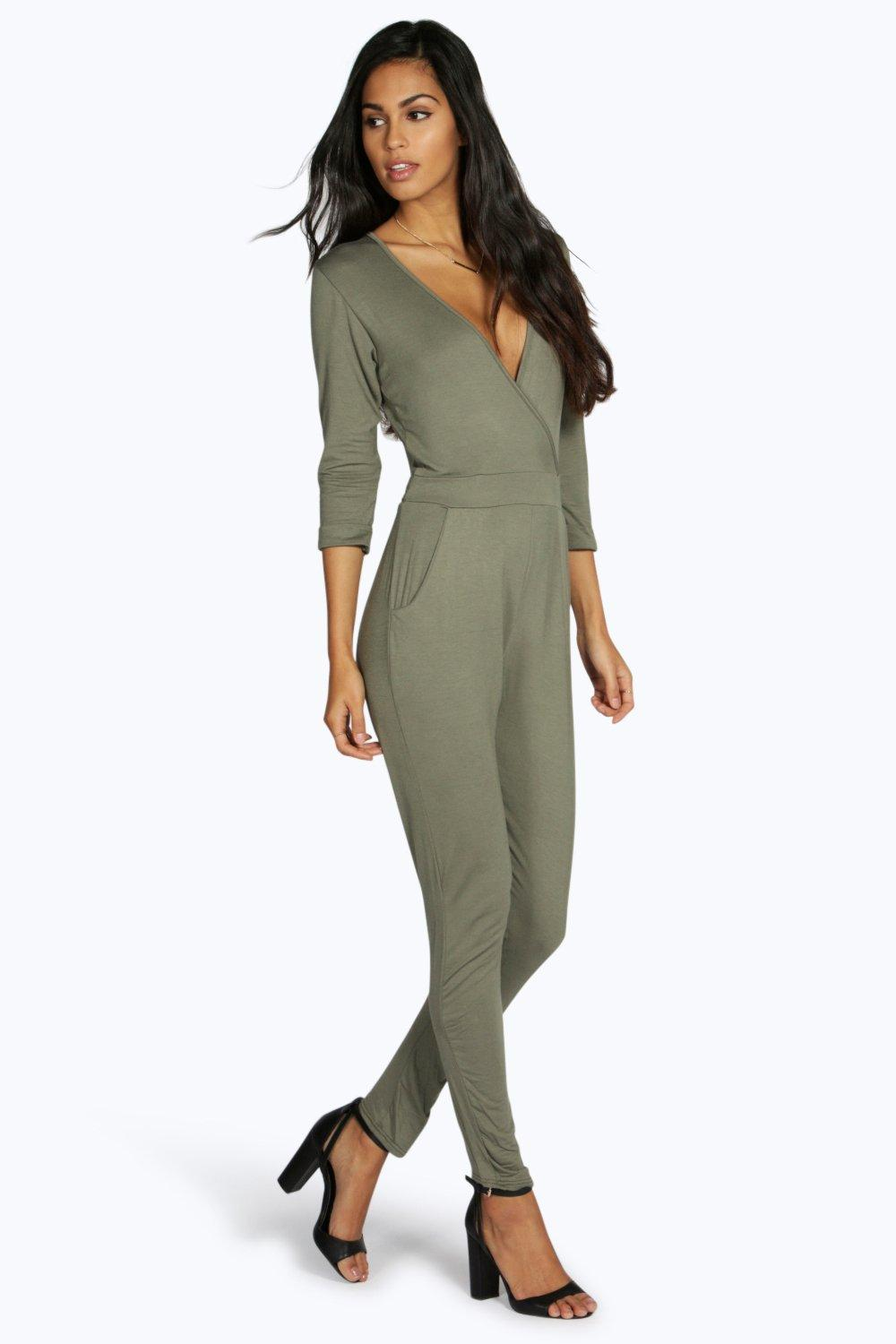 Wrap Front Self Belt Relaxed Jumpsuit  khaki