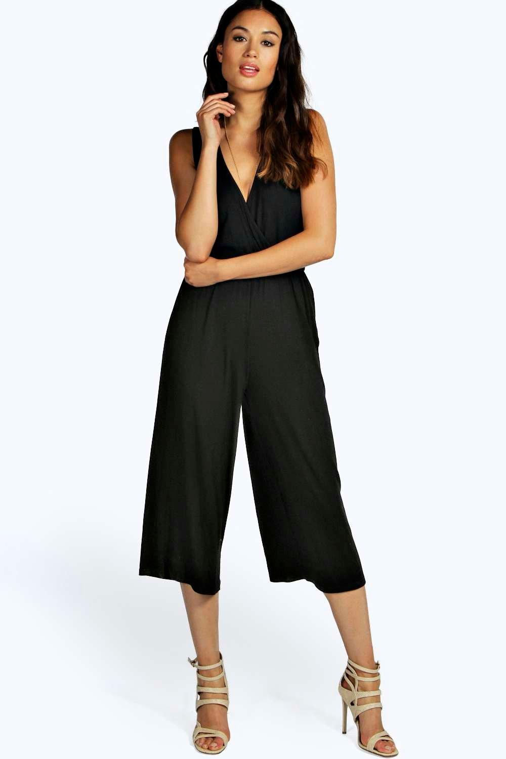 Boohoo Womens Kimi Wrap Over Culotte Jumpsuit | EBay