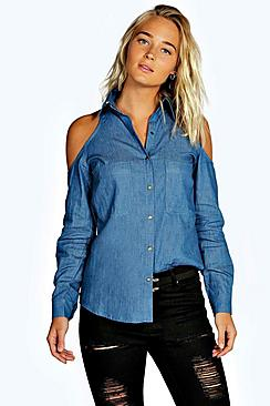 Regan Cold Shoulder Chambray Pocket Shirt