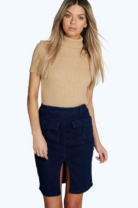 Helena Utility Style Denim Pencil Skirt