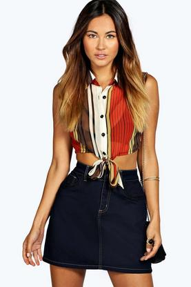 Lolah Plaited Pocket Denim Mini Skirt