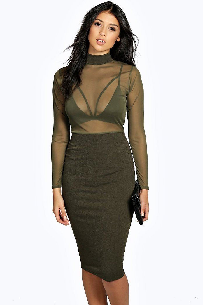 Gabriella High Neck Mesh Midi Bodycon Dress