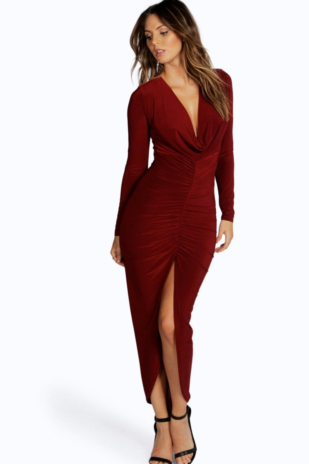 Slinky Ruched Long Sleeve Maxi Dress berry