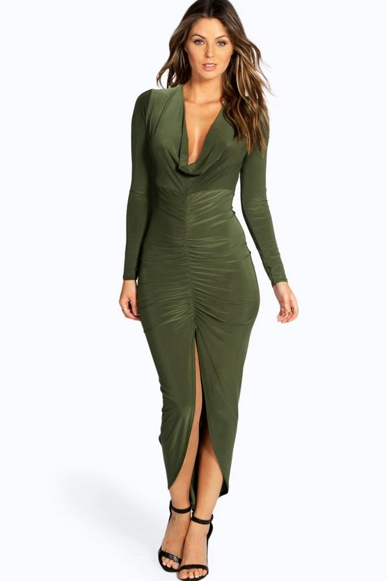 Sara Slinky Ruched Long Sleeve Maxi Dress