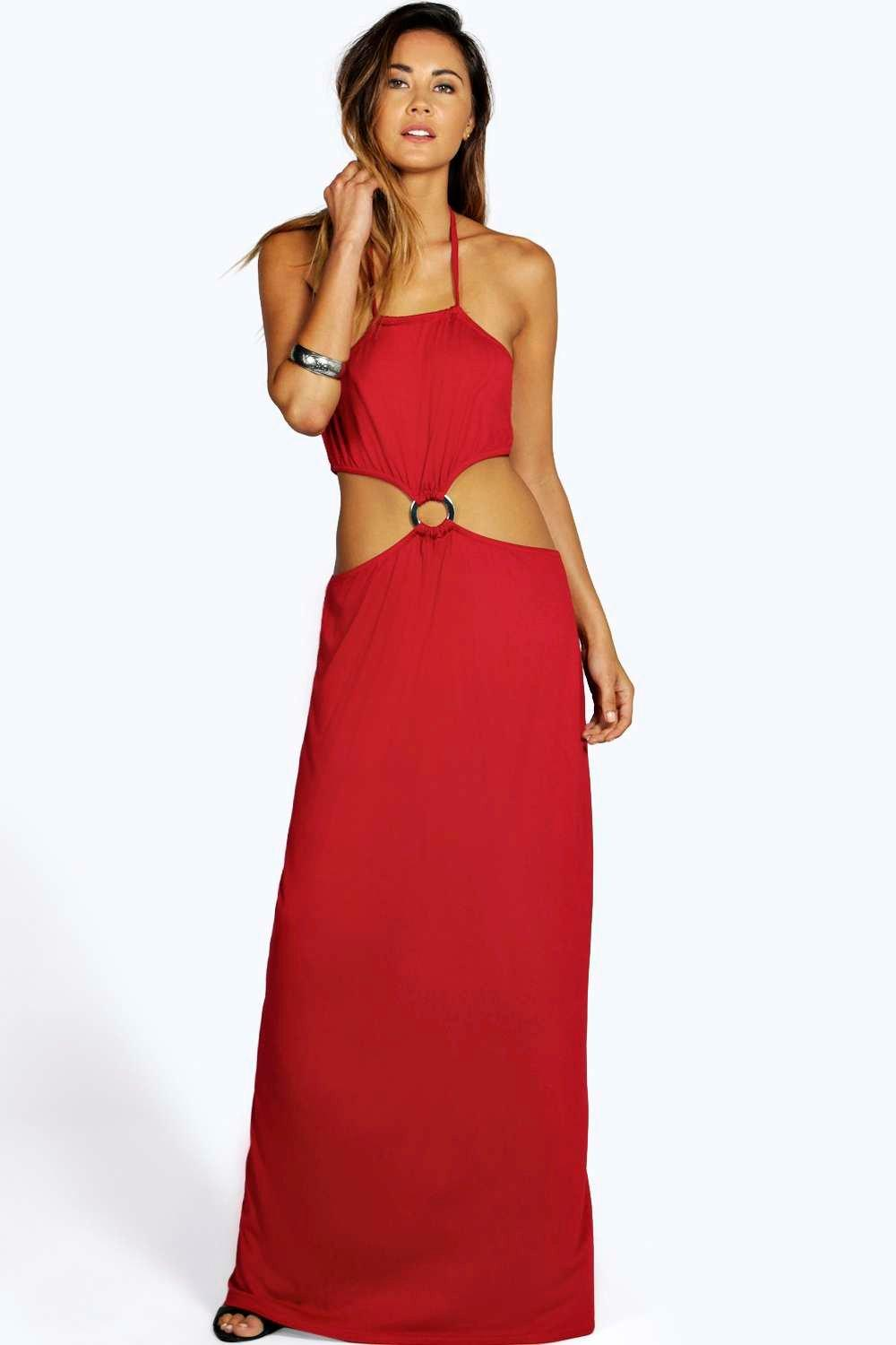 Bella Cut Out Detail Halter Neck Maxi Dress