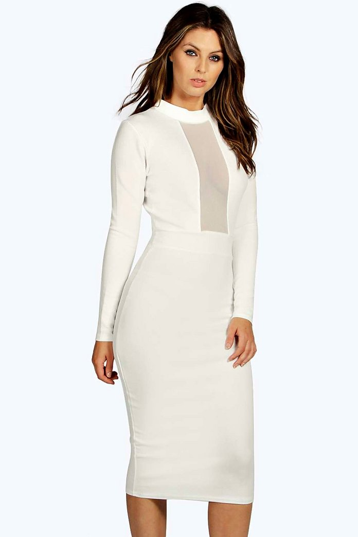 Ana Mesh Panel Long Sleeve Midi Bodycon Dress