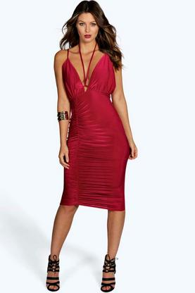 Mya Halter Tie Strap Ruche Skirt Midi Dress