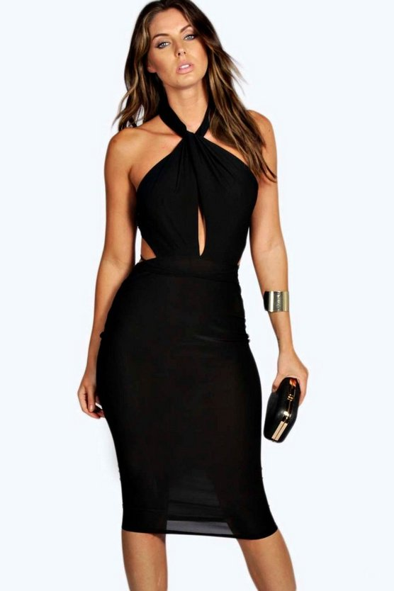 Slinky Strappy Detail Midi Bodycon Dress