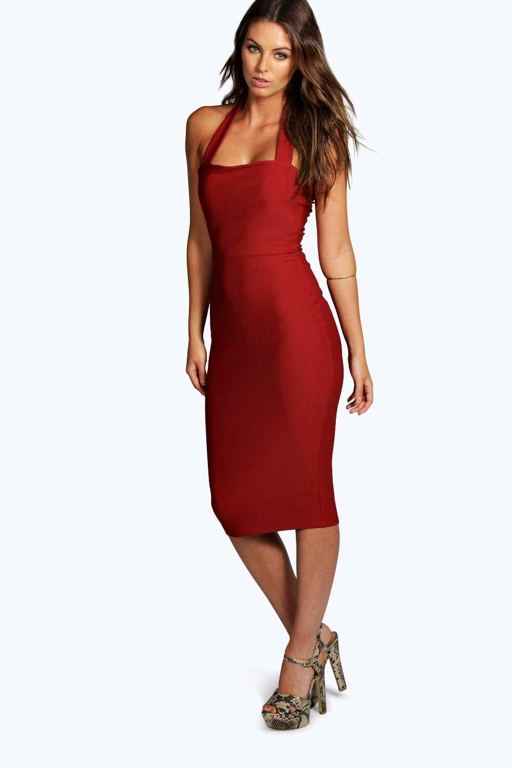 Helena Crepe Halterneck Midi Bodycon Dress