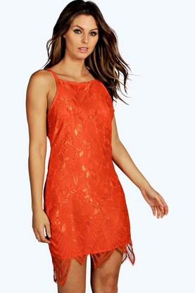 Boutique Mya Double Strap Lace Midi Dress