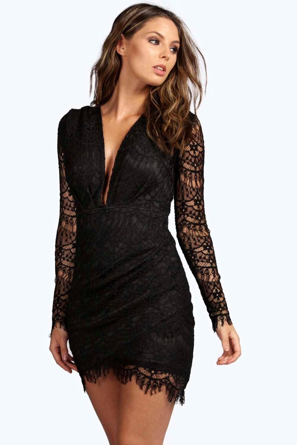 Boutique Mona Plunge Neck Bodycon Dress