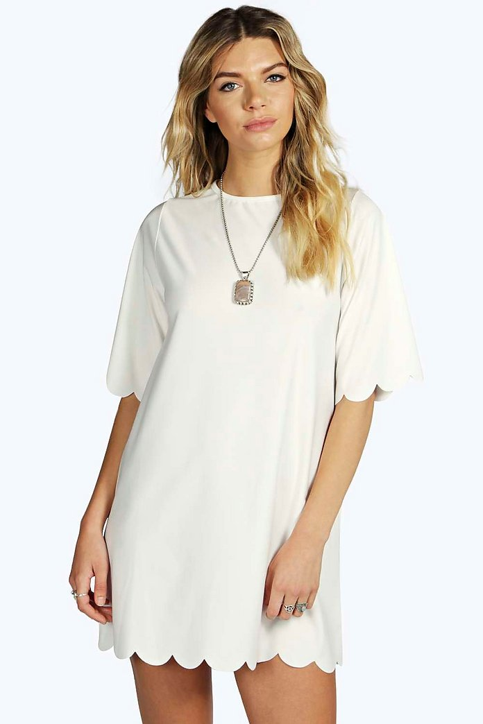Lizzie Scallop 3/4 Sleeve Shift Dress