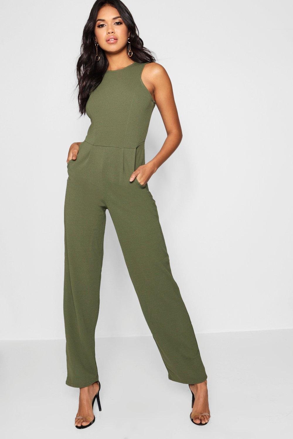Square Neck Textured Jumpsuit  khaki