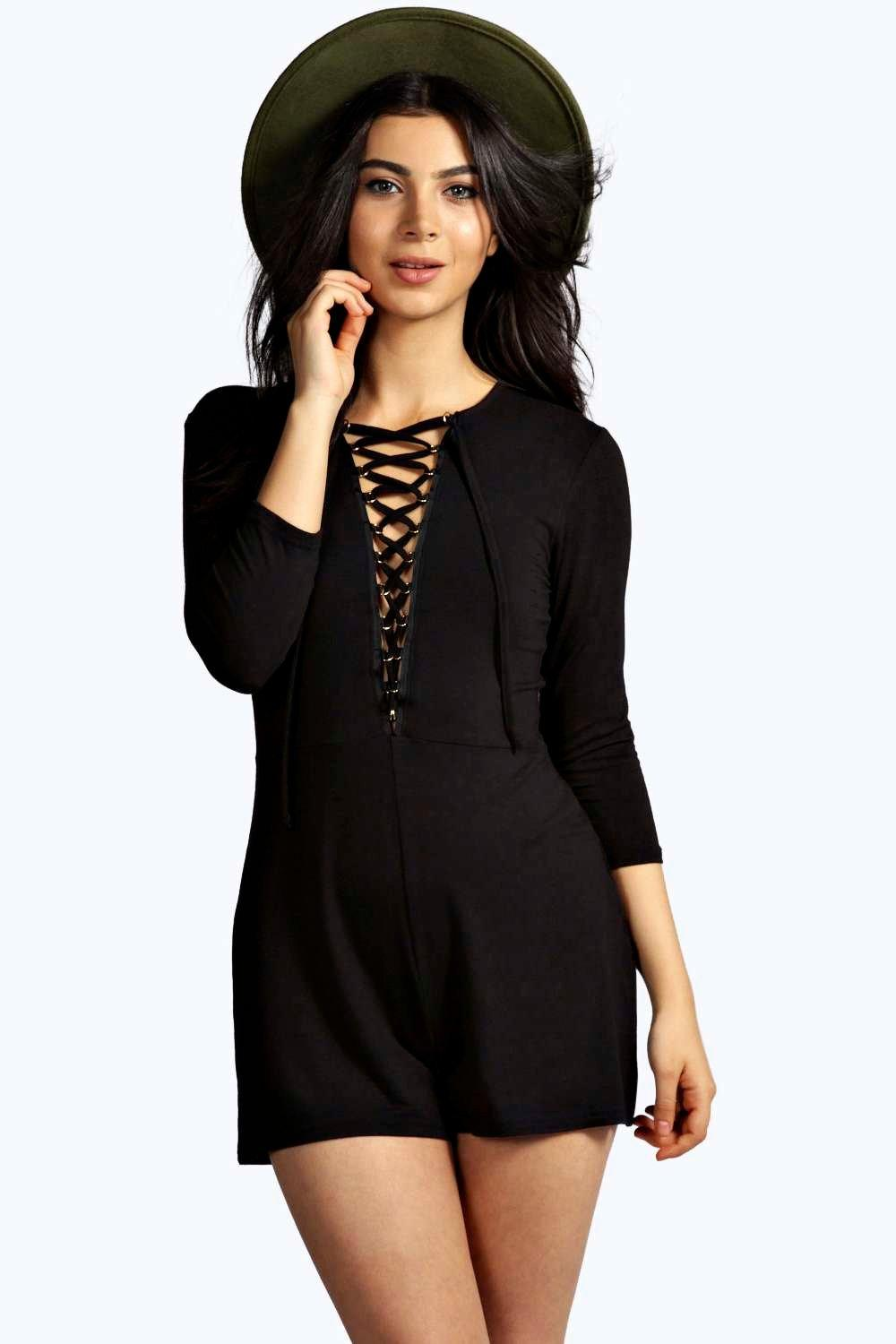 Leila Lace Up Front 3/4 Sleeve Playsuit