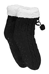 Lined Cable Knit Slipper Socks black