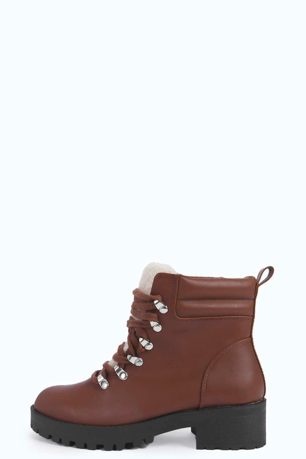 Ava Lace Up Quilted Hiker Boots