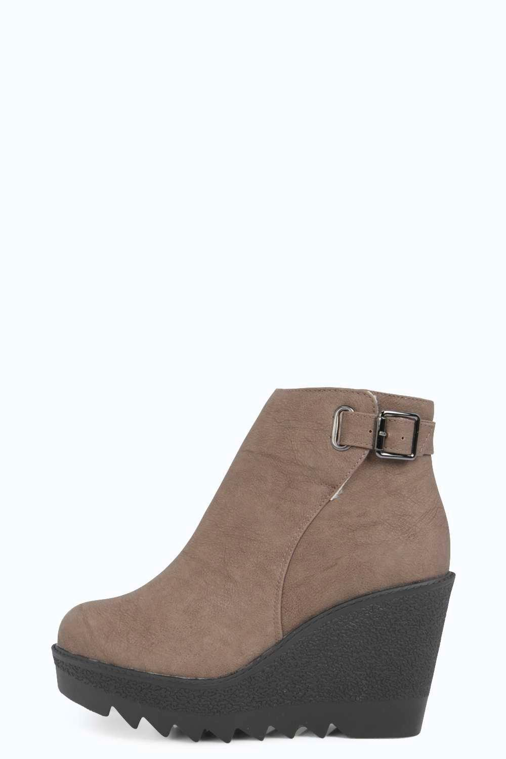 cleated sole wedge boot at boohoo