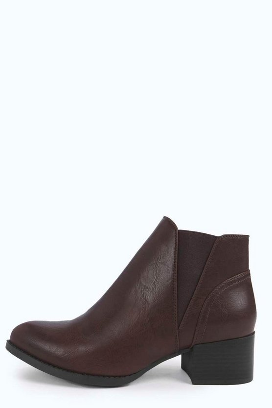 Lucy Elastic Gusset Almond Toe Chelsea Boot