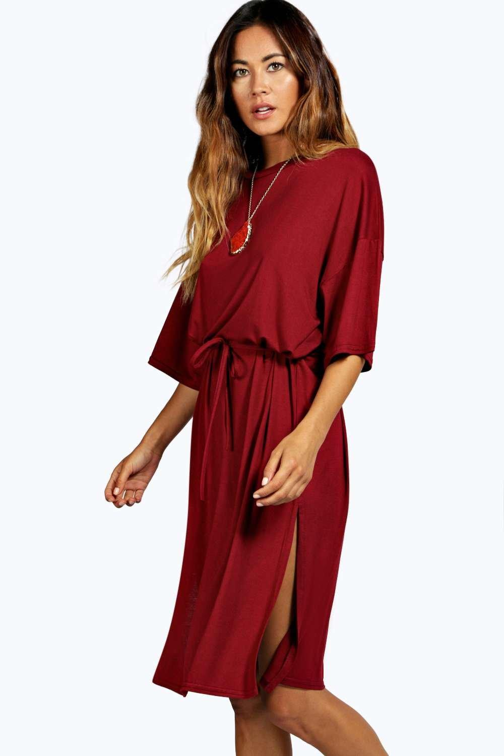 Anna Split Tie Shift Midi Dress