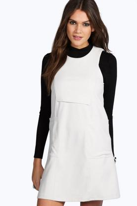 Sandra High Neck Cut Away Pocket Shift Dress
