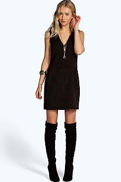 Sian Plunge Pocket Front Shift Suedette Dress