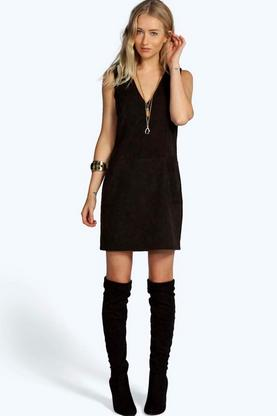 Sian Plunge Pocket Front Shift Suedette Dress