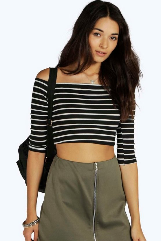 Andrea Striped Off The Shoulder Rib Crop Top
