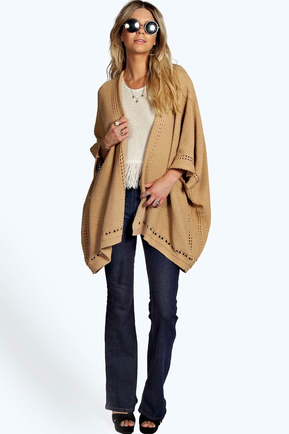 Open Stitch Border Knitted Cape camel